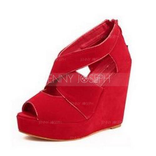 Chaussure A Talon Compensé Rouge
