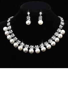 Lindo Liga/Pérola com Strass Senhoras Conjuntos de jóias (011027003)
