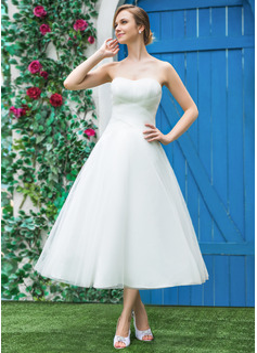 A-Linie/Princess-Linie Herzausschnitt Wadenlang Tüll Brautkleid mit Rüschen (002042289)
