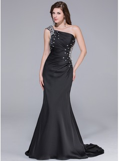 Trumpet/Mermaid One-Shoulder Watteau Train Satin Chiffon Prom Dresses With Ruffle Beading (018025651)