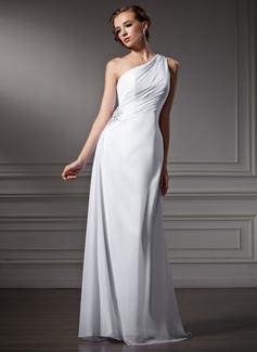 Vestido tubo Un sólo hombro Barrer/Cepillo tren Chifón Vestido de novia con Volantes Bordado (002011746)