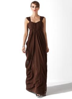 Empire-tyylinen Kullanmuru Lattiaa hipova pituus Sifonki Morsiamen äiti-mekko jossa Rypytys (008006384)