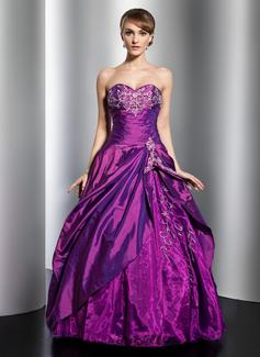 Tanssiaismekot Kullanmuru Lattiaa hipova pituus Tafti Quinceanera mekko jossa Kirjailtu Helmikuvoinnit Paljetit Laskeutuva röyhelö (021014761)