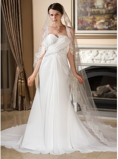 One-tier Lace Applique Edge Cathedral Bridal Veils With Applique (006024552)