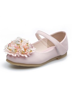 Girl's Closed Toe Leatherette Flat Heel Flats Flower Girl Shoes With Rhinestone Velcro Flower Crystal (207112587)