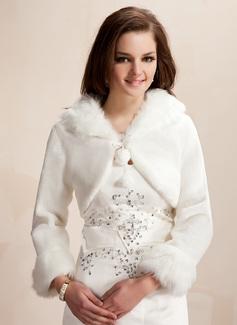Lange Mouw Faux Fur huwelijk Wrap (013020419)