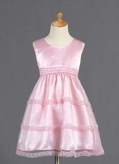 Vestidos princesa/ Formato A Coquetel Vestidos de Menina das Flores - Tule/Charmeuse Sem magas Decote redondo com Renda (010014661)