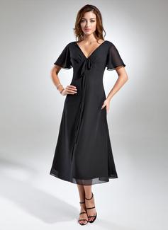 A-linjainen/Prinsessa V-kaula-aukko Polven alle Sifonki Morsiamen äiti-mekko jossa Rypytys Rusetti (008015560)