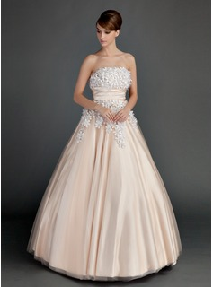 Ball-Gown Strapless Floor-Length Tulle Quinceanera Dress With Ruffle Beading Flower(s) (021015713)
