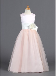 A-Line/Princess Floor-length Flower Girl Dress - Satin/Tulle Sleeveless Scoop Neck With Ruffles/Sash/Flower(s)/Bow(s) (010007827)