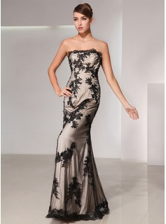 Trumpet/Mermaid Strapless Floor-Length Charmeuse Lace Evening Dress (017014428)