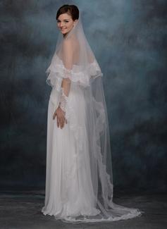 Een-rij Kapel Bruids Sluiers met Lace Stoffen Rand (006020338)