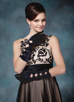 Упругие атласная локоть длина Партии/мода перчатки/Свадебные перчатки (014020534)