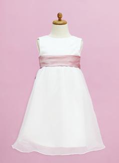 Império Longos Vestidos de Menina das Flores - Organza de/Cetim Sem magas Decote redondo com Cintos (010005332)