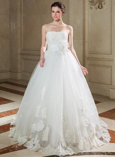 Duchesse-Linie Schatz Sweep/Pinsel zug Taft Tüll Brautkleid mit Rüschen Lace Perlstickerei Pailletten (002040675)