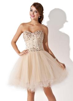 Vestidos princesa/ Formato A Coração Coquetel Tule Vestido de boas vindas com Bordado (022009621)