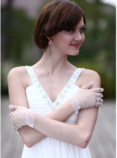 Tulle Wrist Length Bridal Gloves (014003941)