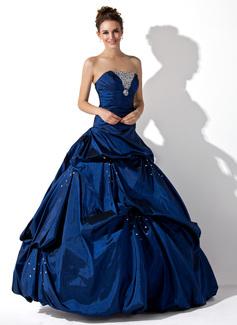 Tanssiaismekot Olkaimeton Lattiaa hipova pituus Tafti Quinceanera mekko jossa Rypytys Helmikuvoinnit (021020667)