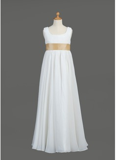 Empire Floor-length Flower Girl Dress - Chiffon/Taffeta Sleeveless Scoop Neck With Sash (010005914)