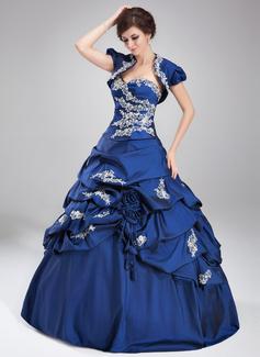 De baile Coração Longos Tafetá Vestido quinceanera com Pregueado Bordado Apliques de Renda Lantejoulas (021004677)