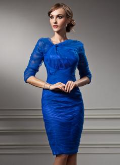 Платье-чехол V-образный Длина до колен Тюль Коктейльные Платье с Рябь (016021166)
