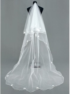 One-tier Cathedral Bridal Veils With Scalloped Edge (006005386)