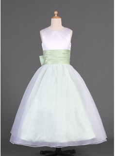 A-Line/Princess Floor-length Flower Girl Dress - Organza/Charmeuse Sleeveless Scoop Neck With Sash/Bow(s) (010014633)