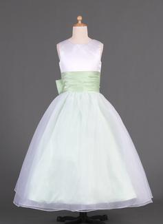 Vestidos princesa/ Formato A Longos Vestidos de Menina das Flores - Organza de/Charmeuse Sem magas Decote redondo com Cintos/Curvado (010014633)