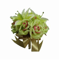 Simple And Elegant Hand-tied/Round Satin Bridesmaid Bouquets (123031462)