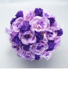Romantic Round Satin/Cotton Bridal Bouquets - (123031450)