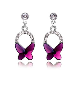 Butterfly Shaped Alloy Crystal Ladies' Fashion Earrings (011037026)