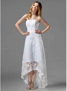A-Line/Princess Strapless Asymmetrical Lace Wedding Dress With Beading (002000226)
