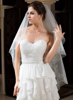 Einschichtig Fingerspitze Braut Schleier mit Schnittkante (006035787)