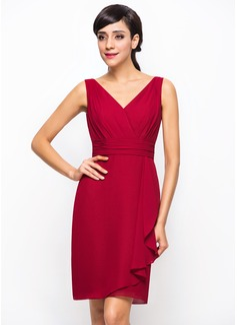 A-Line/Princess V-neck Knee-Length Chiffon Bridesmaid Dress With Cascading Ruffles (007054310)