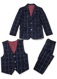 Rapazes 3 peças Xadrez Roupas de Pajem /Ternos Menino Página com Jaqueta Oeste calça (287199772)