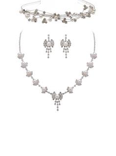 сплав/жемчуг с горный хрусталь женские Комплекты ювелирных изделий (011027504)