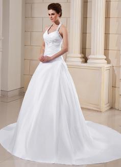 Corte A/Princesa Cabestro Tren de la catedral Tafetán Vestido de novia con Volantes Encaje Bordado (002011754)