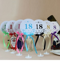 Personalized Floral Design Paper Table Number Cards With Holder With Ribbons (Set of 10) (118032254)