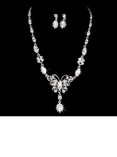 Butterfly Shaped Alloy/Rhinestones With Rhinestone Ladies' Jewelry Sets (011028370)