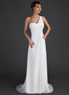 Império Um ombro Sweep/Brush trem Tecido de seda Vestido de Férias com Pregueado Beading Apliques de Renda (020015637)