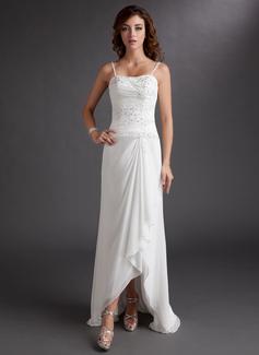 Sheath/Column Sweetheart Asymmetrical Chiffon Wedding Dress With Beading Appliques Lace Sequins Cascading Ruffles (002012020)