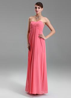 Império Amada Longos Tecido de seda Vestido para madrinha grávida com Pregueado (045022460)
