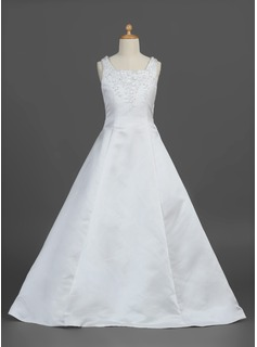 A-Line/Princess Floor-length Flower Girl Dress - Satin Sleeveless Square Neckline With Beading/Flower(s) (010007302)