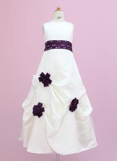 Vestidos princesa/ Formato A Longos Vestidos de Menina das Flores - Cetim Sem magas Decote redondo com Cintos/Beading/fecho de correr/lantejoulas/Escolher acima saia (010002149)