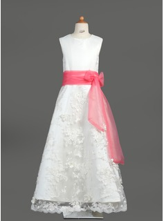 A-Line/Princess Floor-length Flower Girl Dress - Organza/Satin/Lace Sleeveless Scoop Neck With Sash/Bow(s) (010005878)
