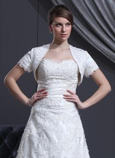 Korte Mouw Satijn huwelijk Wrap (013022586)