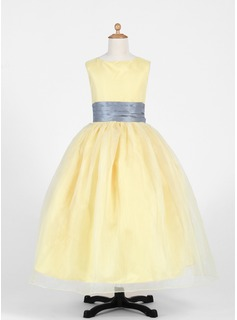 Ball Gown Ankle-length Flower Girl Dress - Taffeta/Organza Sleeveless Scoop Neck With Sash (010016217)