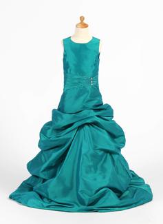 Vestidos princesa/ Formato A Longos Vestidos de Menina das Flores - Tafetá Sem magas Decote redondo com Pregueado/Beading/Escolher acima saia (010007474)