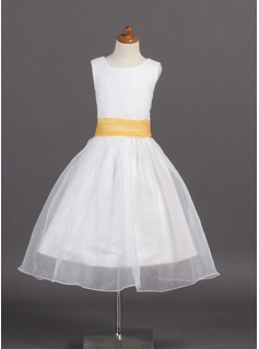A-Line/Princess Tea-length Flower Girl Dress - Organza/Satin Sleeveless Scoop Neck With Sash (010007925)