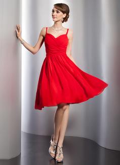 Vestidos princesa/ Formato A Coração Coquetel De chiffon Vestido de boas vindas com Pregueado (022014786)